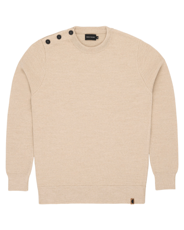 Pull col rond en laine extra fine balbaia natural bask in the Sun